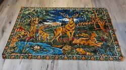Vintage Tapestry Wall Hanging Rug Elk 72quot; x 46quot;