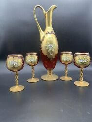 Murano Venice Italy Red Glass Decanter Set 4 Wine Glasses 24kt Gold Leaf Rare