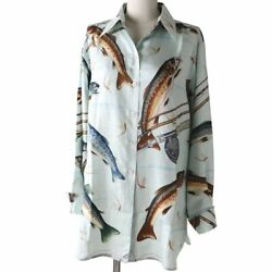 Authentic Hermes Total Pattern Design Sweetfish Fish Silk 100 Long Sleeve