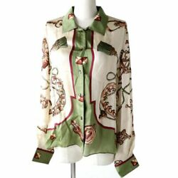Authentic Made In France Hermes Women's Silk 100 Long-sleeved Shirt Total