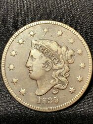1835 Large Cent, Coronet Head, N-3 Early Date Collector Copper Scarcer Piece