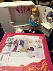 """Our Generation - White Wooden Doll Wardrobe For 18"""" Dolls American Girl Doll"""