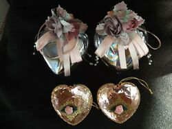 Victorian Heart Ornaments Lot Of 4 Roses Pearls Prisms Feather Tree Wreath