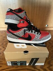 Nike Sb Supreme Dunk Low Premium 2012 Red Cement Size 10