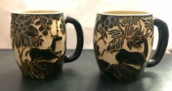Traditional,vintage,majolica Mugs From Indonesia-hand Carved-unique-top Quality