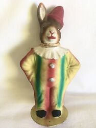 Antique Easter Bunny Carnival Rabbit Candy Container Marked Germany Glass Eyes