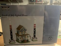 Dept 56 American Pride Fourth Of July Lighted House Set Of 5 56.35369 New Rare