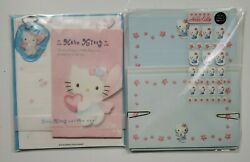 1997 Sanrio Hello Kitty Stationary Letter Set Stickers Blue Angel Wings Lot Rare
