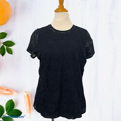 Chaps Women Short Sleeve Black Lace Overlay Lined Cotton Top Tee Blouse Sz. 1x