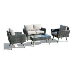 Alfresco Home Castlewood 4-piece Resin Wicker Seating Group In Stone Gray