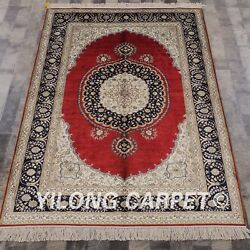 Yilong 4'x6' Handknotted Silk Area Rug Medallion Red Home Interior Carpet 462b