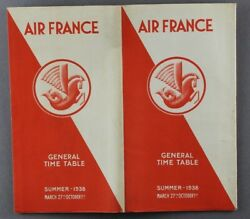 Air France General Airline Timetable Summer 1938 Aircraft Pictures Route Map Af