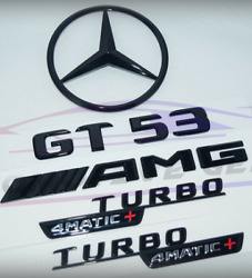 For Mercedes Emblem Star Boot Trunk Gt53 Amg Turbo 4matic+ Glossy Black X290