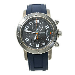 Hermes Clipper Cp2.941 Chronograph Grey Titanium Mens Watch Box And Papers 44mm