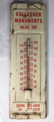 Vintage Gallagher Monuments Malaga Ohio Advertising Thermometer