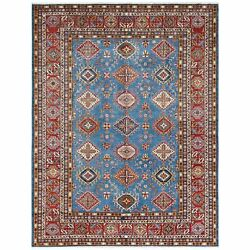 8and0399x11and0399 Denim Blue Super Kazak With Tribal Design Handknotted Wool Rug G61142