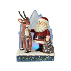 Rudolph Traditions By Jim Shore Figurine Lighted Rudolph And Santa New 6001589