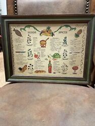 Vintage Wood 1970 Three Mountaineers Spice Herb Cabinet Wall Rack W/ 1965 Chart