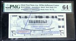 Double Inverted Serial Numbers On Giori Jefferson Test Note Pmg 64 Epq