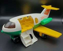Vintage Fisher Price Airplane 1980 Toy Plane Plastic Made Usa Green Yellow
