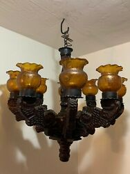 Antique Wood Chandelier   Spanish Revival Gothic   30w X 30h   Handmade Glass