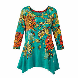 Richly Colored Fall Floral Sharkbite Sequin Tunic Top With 3/4 Length Sleeves