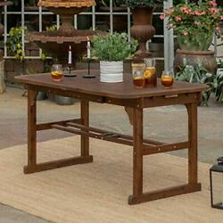 Walker Edison Maui Modern Solid Acacia Wood Slatted Patio Dining Table, 78 Inch,