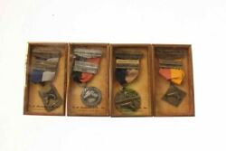 4 Vintage 1950-51 Minnesota St Paul Rifle And Pistol Club Medals In Boxes