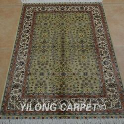 Yilong 2.7and039x4and039 Handknotted Silk Rug Antistatic Home Interior Green Carpet 0529