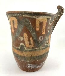 Antique Pre-columbian Bolivian Decorated Pottery Drinking Vessel