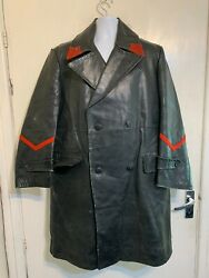 Vintage 50and039s German Horsehide Leather Fire Manand039s Long Jacket Coat Size M