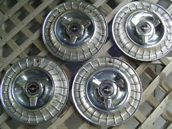 Four Vintage 1963 63 Ford Thunderbird T Bird Hubcaps Wheel Covers Center Caps