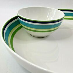 Kate Spade Chip And Dip Set Wickford Cafe Stripe Blue Hostess Party Serving Bowl