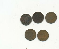 D5347  U/grade Indian Head Penny One Cent Lot Of 5 18911893 1890 1889 1891