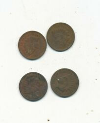 D5342  U/grade Indian Head Penny One Cent Lot Of 4 1891 1890 1889 1891