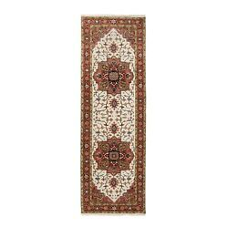2and0398x8and0391 Heris Seeripe Wool Natural Dyes Beige Hand Knotted Runner Rug G62948
