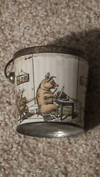 Antique Pigs Candy Pail Tin Lithograph Nice One