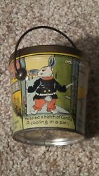 Antique Peter Cottontail Candy Pail Tin Lithograph Nice One