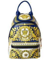 Versace Barocco Print Leather Backpack Men#x27;s $839.99