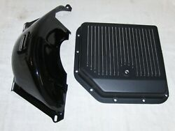 Turbo 350 Black Finned Transmission Pan And Flywheel Dust Cover Gm Chevy Th-350