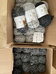 Huge Yarn Lot 23+ Lbs Wool-ease Thick And Quick Yarn Woolease Gray Grey