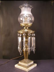19 C Ornate Brass Astral Solar Cut Crystal Prism Marble Parlor Banquet Oil Lamp