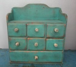 Tiny Vintage 7 Drawer Spice/notions Cabinet/box/cupboard/chest-blue Paint