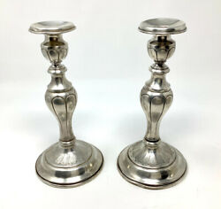 Antique Pair Of Sterling Silver Candlesticks Candle Holders 600 Gr Not Weighted