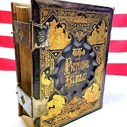 ⭐antique Leather-bound Gold Embossed Metal Clasp Pictorial Bible Book 1873⭐
