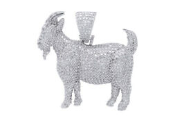 1.85 Ct Round Cut Diamond In Goat Shape Pendent 10k White Gold