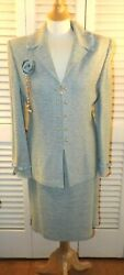St John Knits Collection Tweed 2 Pc Suit Blazer Skirt Green Blue Size 12 Usa
