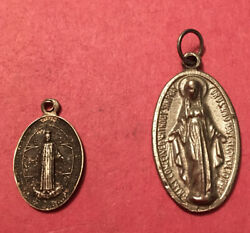 Antique Holy Miraculous Medals. Religious/catholic. Very Old. Petite Says 1871