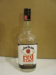 1 Jim Beam Red Stag Black Cherry Whiskey - Arts And Crafts - Empty 1 L. Bottles