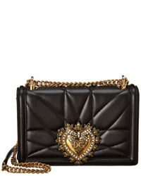 Dolce And Gabbana Devotion Medium Quilted Leather Shoulder Bag Womenand039s Black